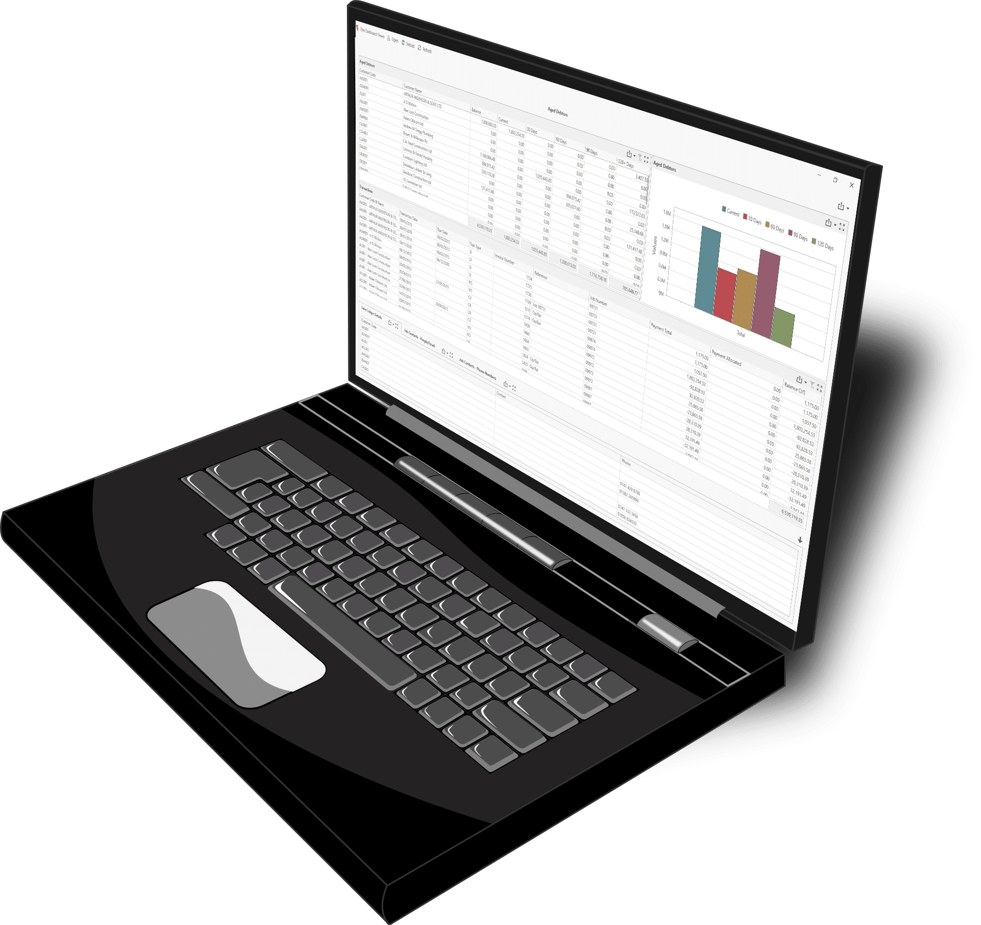 Open Laptop featuring Contract Costing Dashboard