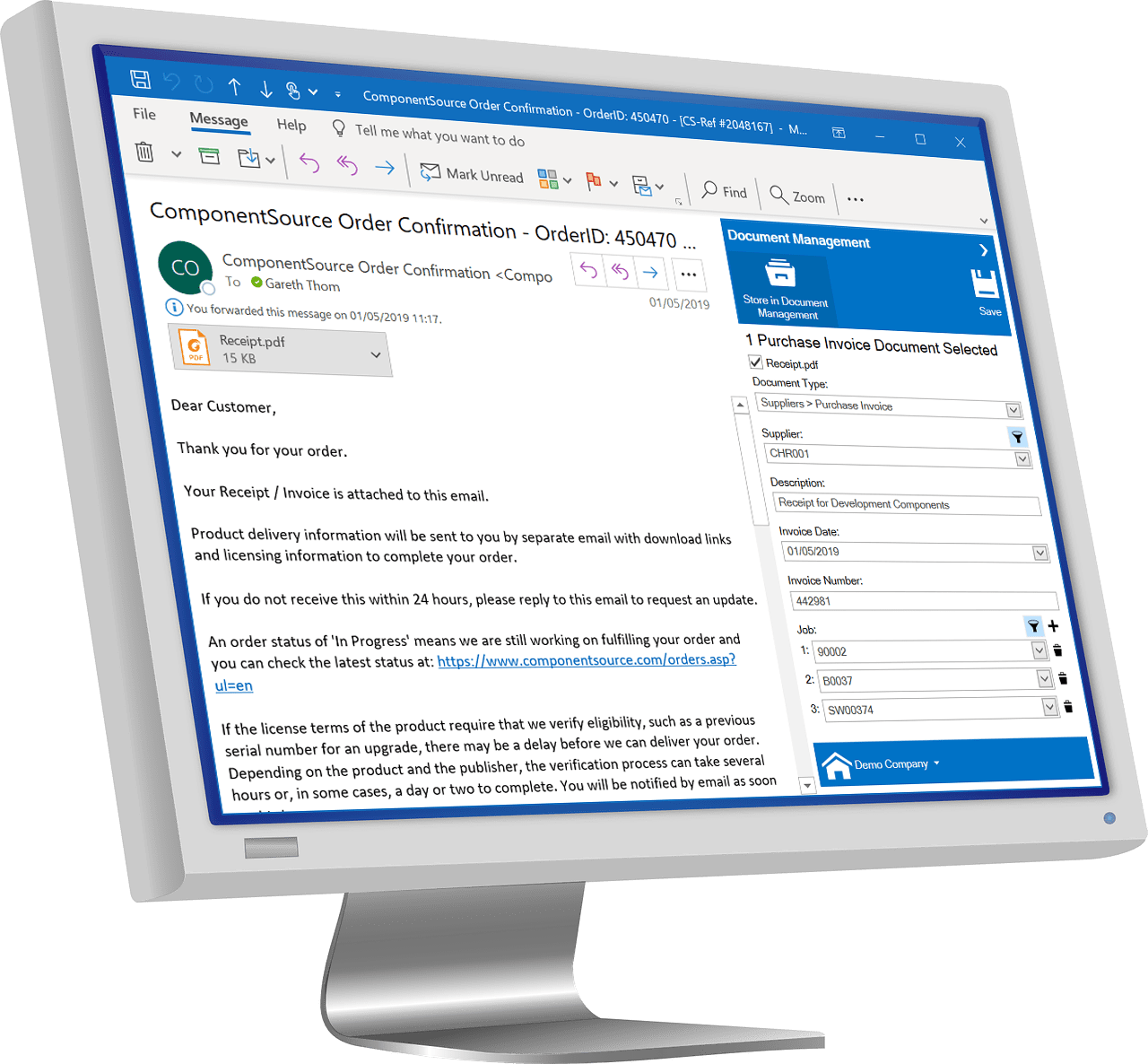 Monitor Displaying Contract Costing Document Management feature
