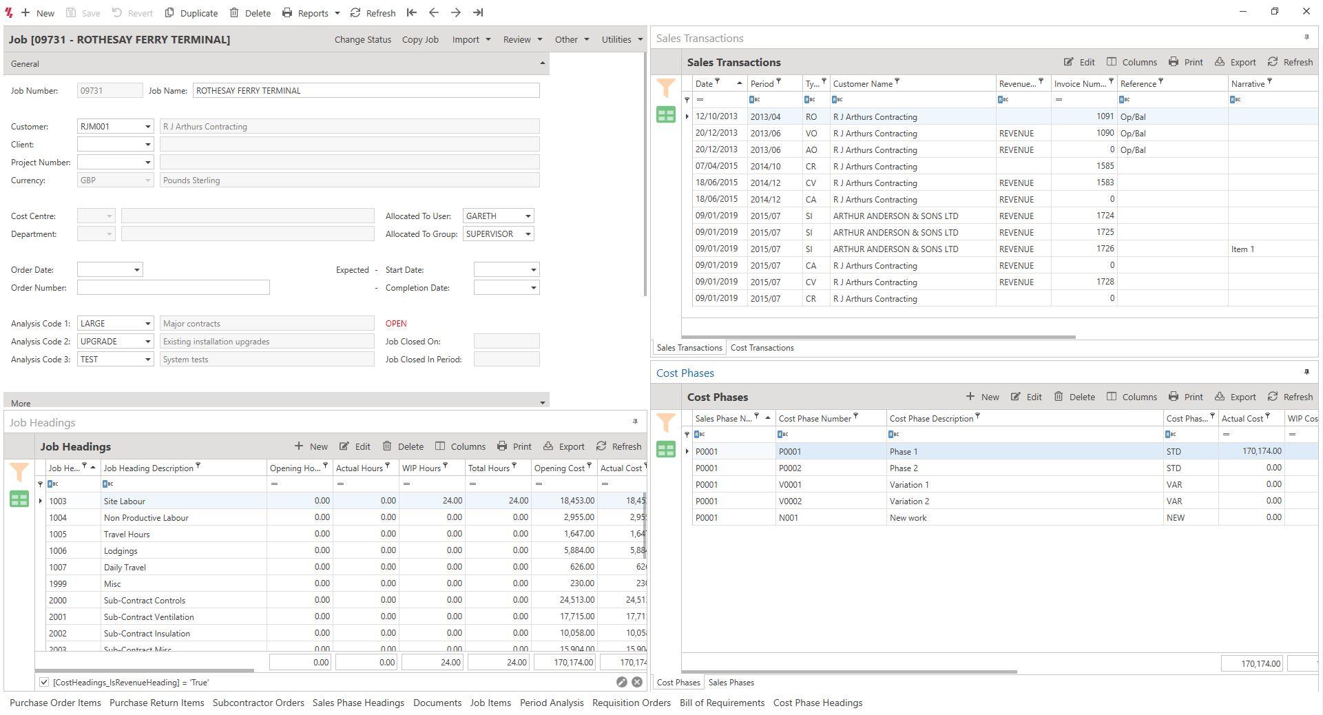 Screenshot Showing Contract Costing Job Screen